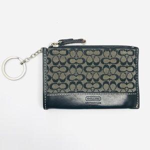 Coach Keychain ID Wallet Card Case Gray Black Mini